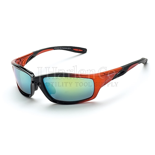 bc21017262b Crossfire Infinity Gold Mirror Lens With Orange Black Frame Safety Glasses