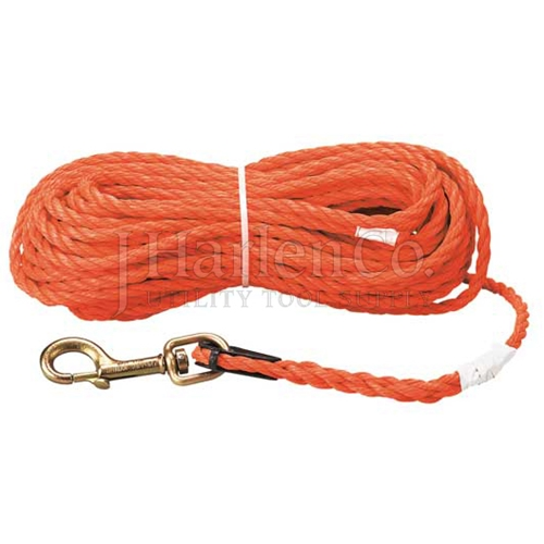 "Klein 5/16"" x 75Ft Handline Rope With Swivel-Clevis Snap Hook"
