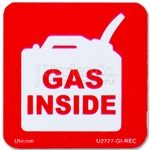 "Safety Label ""GAS INSIDE"""