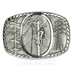 Silver Finished Solid Brass Lineman's Belt Buckle