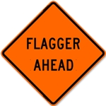 "Bone 48"" Diamond Grade Roll Up Sign - Flagger Ahead"
