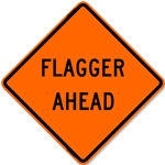 "Bone 48"" Roll Up Sign - Flagger Ahead-Free Shipping"