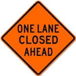 "Bone 48"" Roll Up Sign - One Lane Closed Ahead-Free Shipping"